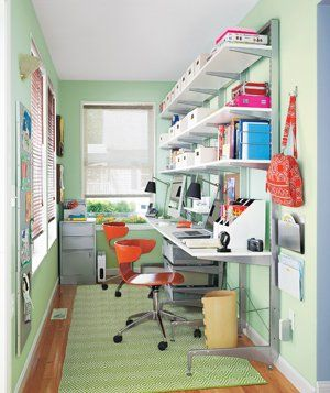 See how we made over one family's home office with dual desks and LOTS of shelving.