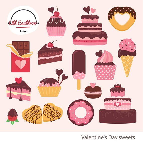 Valentine S Day Sweets Clipart Commercial Use Valentines Clipart Cakes Clipart Cupcakes Clipart Valentines Tea Party Valentine Tea Valentines Illustration