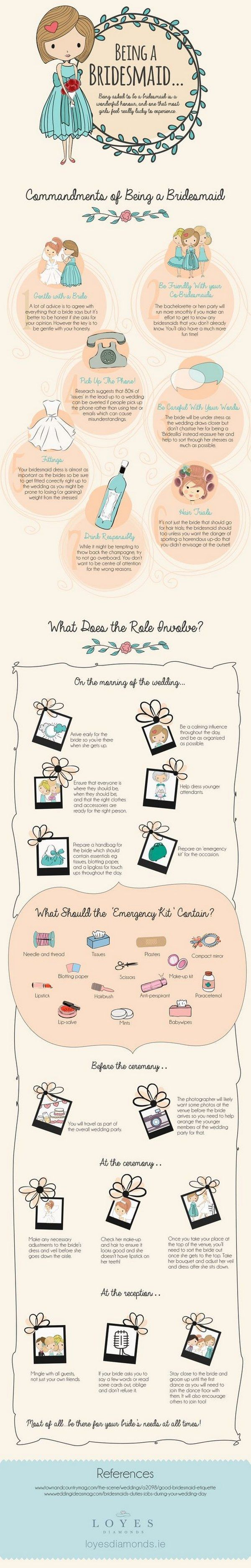 A Guide To Being A Good Bridesmaid Infographic / http://www.deerpearlflowers.com/wedding-planning-infographics/2/