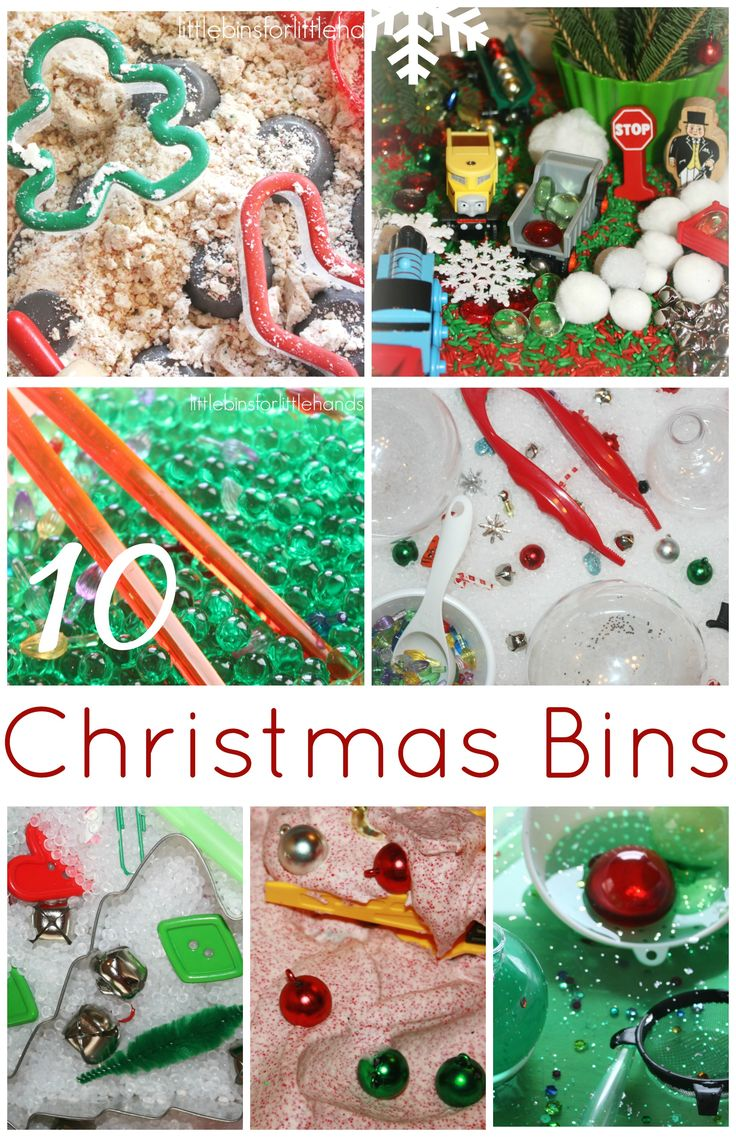 10 Christmas Sensory Bins for Kids including messy sensory play, rice sensory bins, water play and more! Even one for the younger child too! Science, early learning, fine motor and sensory play in one bin!
