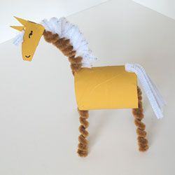 Make a fun cardboard tube horse with your kids! See the other farm animals too.