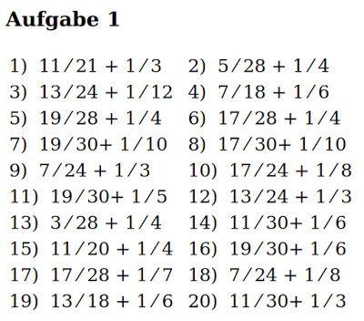 Mathe Ist Einfach: Brüche Addieren Blatt 1 #bruchrechnen #aufgaben