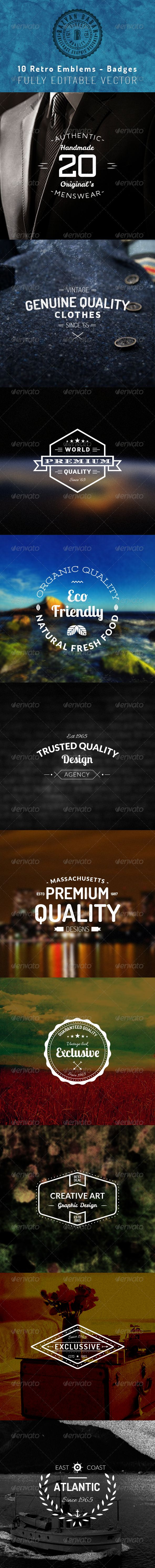 Premium quality set of Retro Emblems-Insignias that can be used as logos, stamps, posters, banners etc. These Emblems-Insignias are 100% vector and therefore 100% editable and scalable without losing detail. All fonts are free for personal and commercial use. Fonts name and links given in the info file. Background images are not included in this package.
