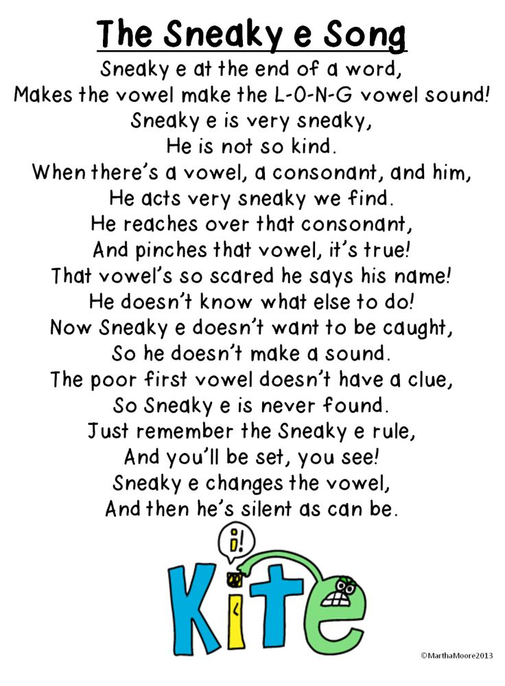Blog post about teaching Sneaky e, silent e, magic e and free Sneaky e song
