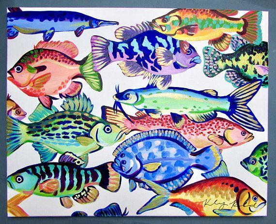Pintura de peces costeros 16  20 por Kelsey Rowland-pescado
