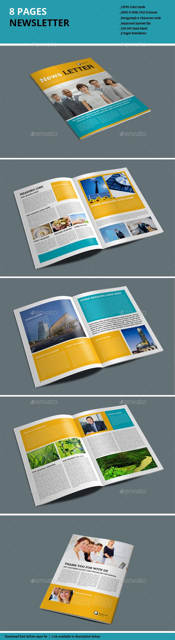 8 Pages Newsletter Template #design Download…