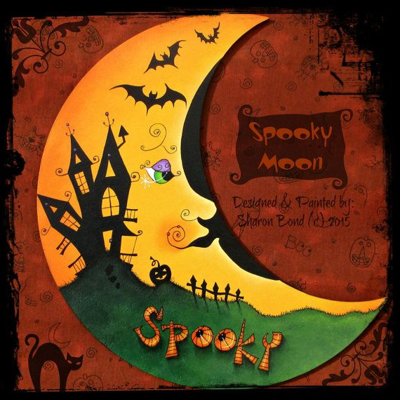 E PATTERN  Spooky Moon Halloween Moon with Spooky by skb007