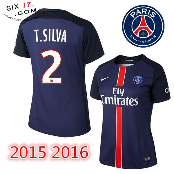 Equipe nouveau maillot psg femme 2015 2016 T.SILVA Domicile bleu Petit Prix En Ligne