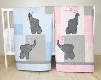 Aqua Gray Blanket, Elephant Quilt Blanket, Chevron Baby Patchwork Blanket  A brand new colour combination of the elephant blankets, aqua - white- gray quilt to match with a baby bedroom.  The cute elephant baby blanket nice for girls and boys too, with different colours of course. I used the timeless chevron pattern, and made the applications with patchwork technique. Can be made any size and colour, or with different applications. On this custom made quilt set each applique is hand…