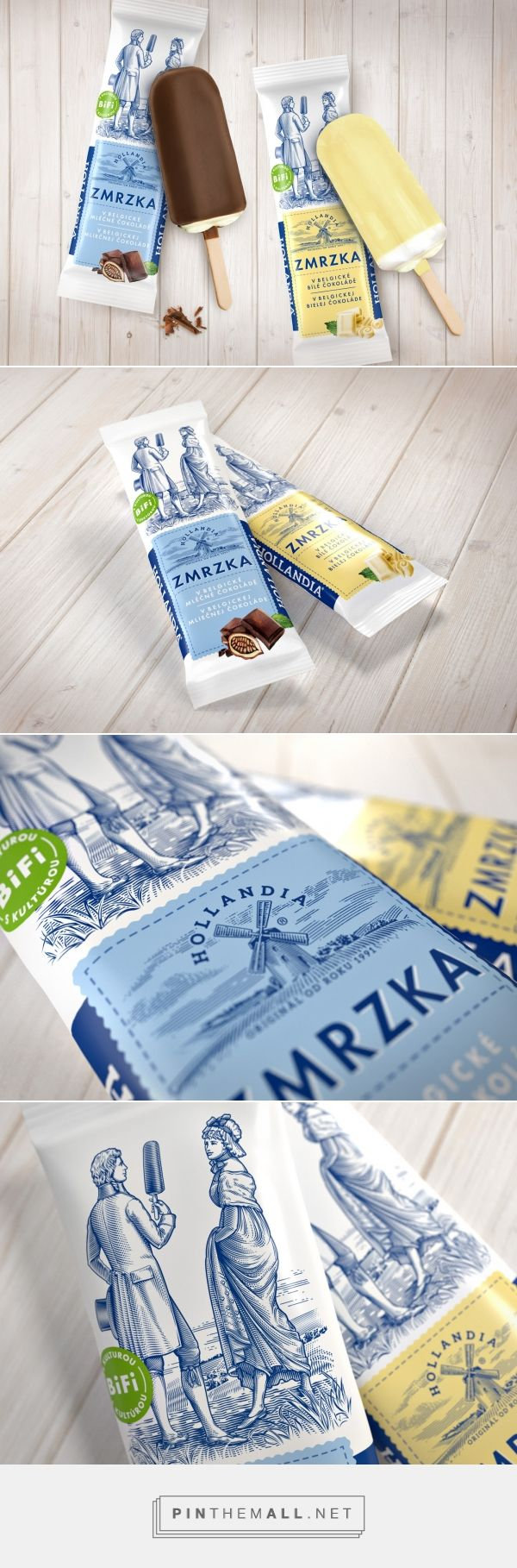 This classical dude is holding a giant over-sized lolly instead of a bouquet of flowers...on Hollandia Zmrzka ice cream packaging design by Cocoon Group - http://www.packagingoftheworld.com/2016/08/hollandia-zmrzka.html