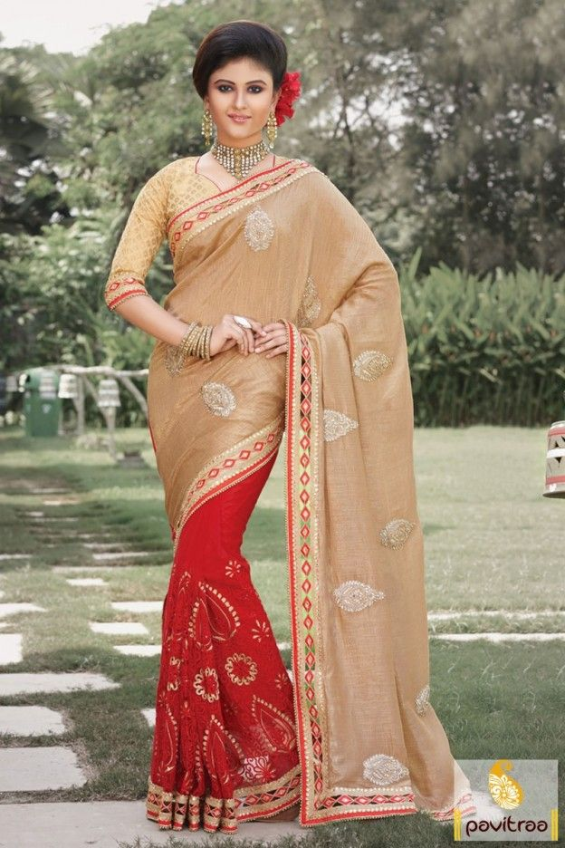 Indian wedding season special designer red chikoo net silk wedding bridal saree online with discount offer. Attractive looking heavy wedding saree ideal for reception and engagement ceremony. #valentinesaree, #saree, #partywearsaree, #weddingsaree, #sari, #indianweddingsaree, #designersaree, #sareewithblouse, #sarees, #Indiansaree, #sareecollection, #fashionsaree, #latestsaree, #designercollection More: http://www.pavitraa.in/store/party-wear-saree/ Any Query:					 Call Us:+91-7698234040