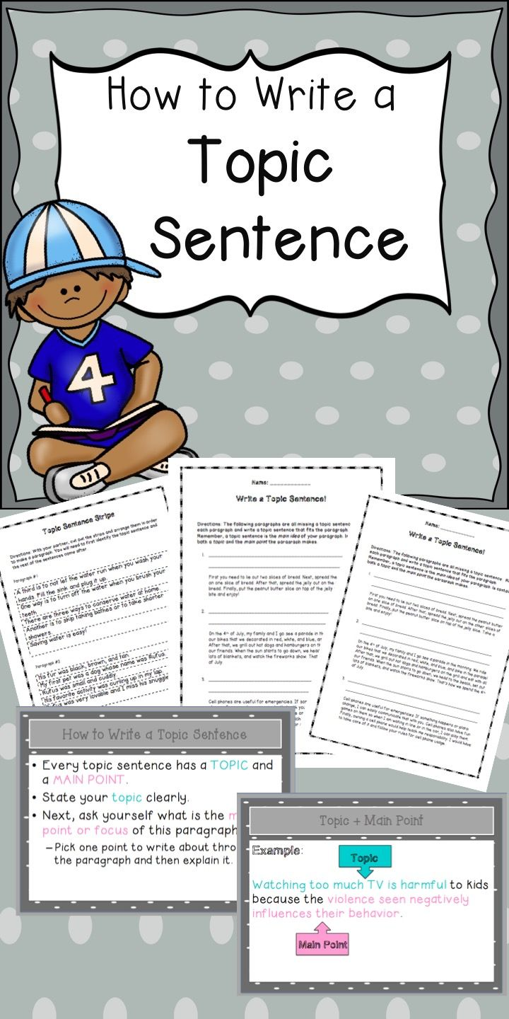 esl writing topic sentences lesson plans