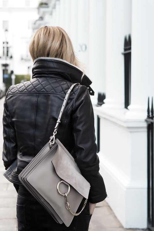 Karen Millen Jacket with Dove Grey Shearling and a Chloe Faye bag