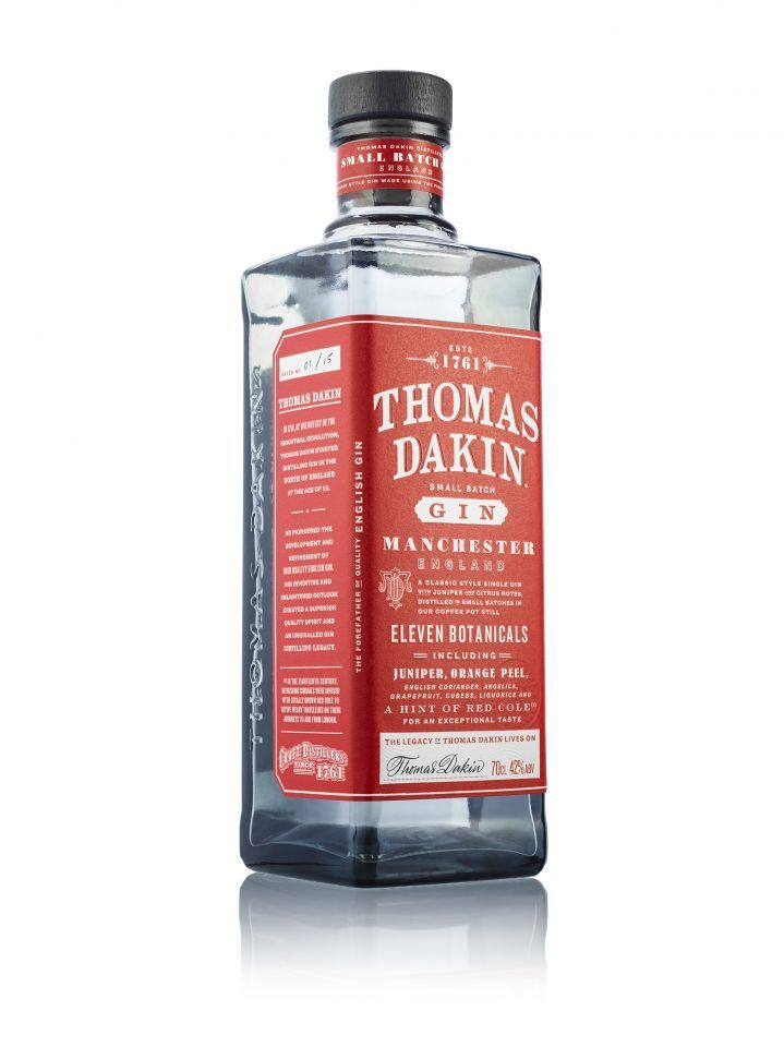 The new gin was named to honor Thomas Dakin, a young gin innovator who founded the world's oldest gin distillery back in the 18th century, and Here Design took inspiration from that time to create the packaging for the spirit.