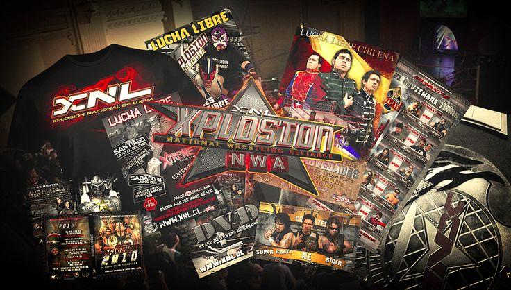 Branding XNL Completo diseño de imagen a agrupación de Lucha libre Chilena.  Diseño Gráfico. Merchandising. Diseño 3d Post producción audiovisual.