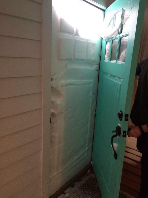 24 Pictures That Perfectly Capture How Insane The Snow In New England Is :  Plum Island front door: