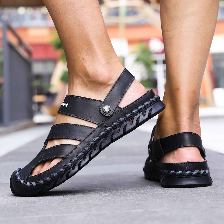 Genuine Leather Beach Sandals 2019 New Summer Band Men Sandals Outdoor Breathable Roman Men's Slippers Water Shoes C4