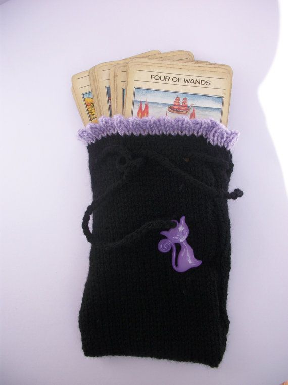 Tarot Card Bag Pouch. Hand Knit Crafted by thekittensmittensuk, $17.00