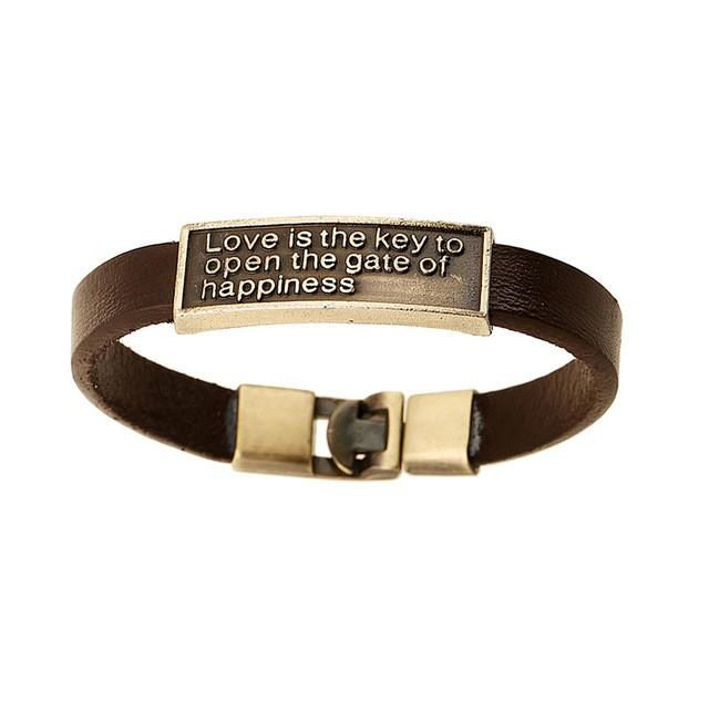 Brown Genuine Leather Bracelet With 'Love Is The Key To Open The Gate Of Happiness'