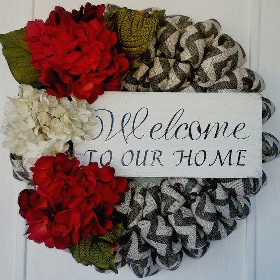 Beautiful Gray Chevron Burlap Wreath Farmhouse Wreath Front Door Wreath Pretty Hydrangeas Wreath Winter Wreath Year Round Wreath