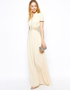 Image 1 ofJarlo Kelly Maxi Dress With Cap Sleeve and Lace Insert