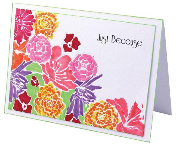MT442 Reverse Floral Corner Card