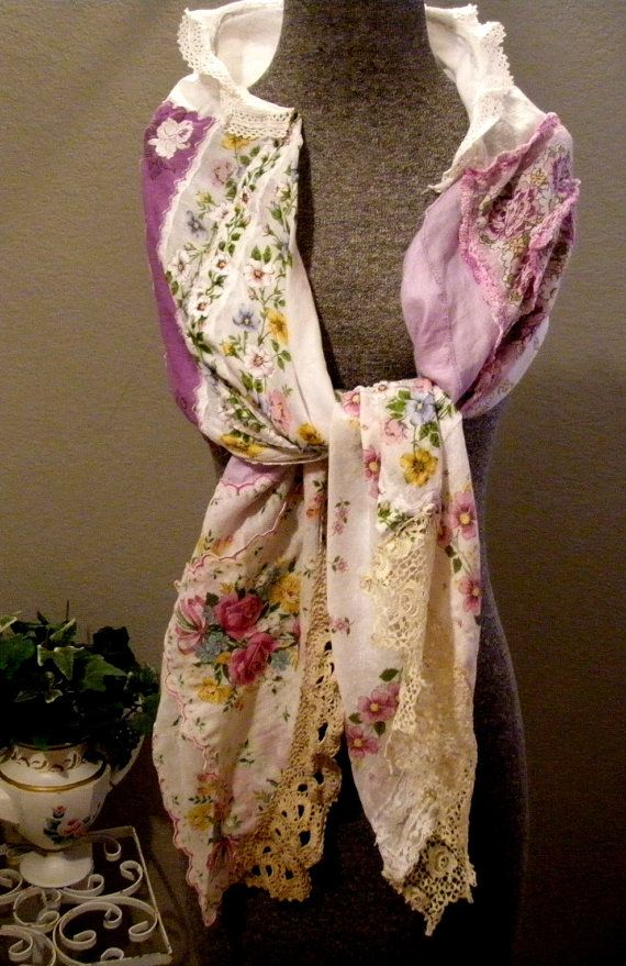 Purple Vintage Hankie Scarf $35 at Etsy