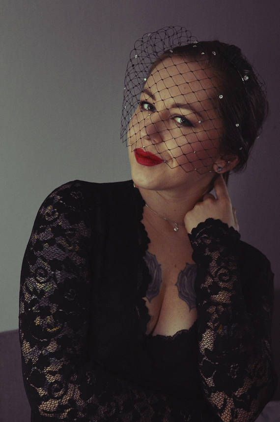 Black Birdcage Veil Black Veil Headband Marry Widow Veil