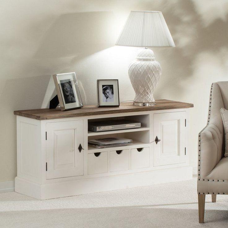 Szafka RTV Brighton 150x40x65cm white&natural, 150x40x65cm - Dekoria #white #meble #biale #furniture #komoda #interior #idea #design