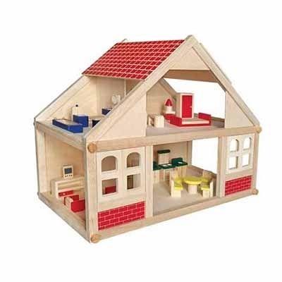 Groot houten poppenhuis inclusief meubels