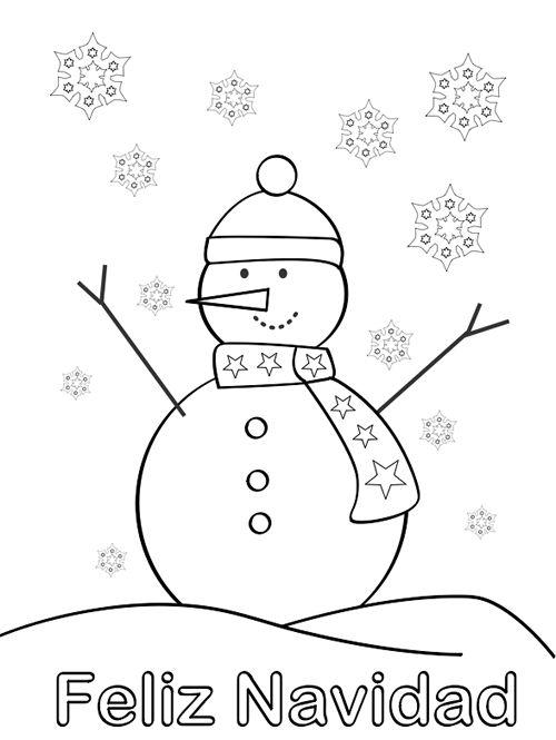 colorear muñeco de nieve, snowman
