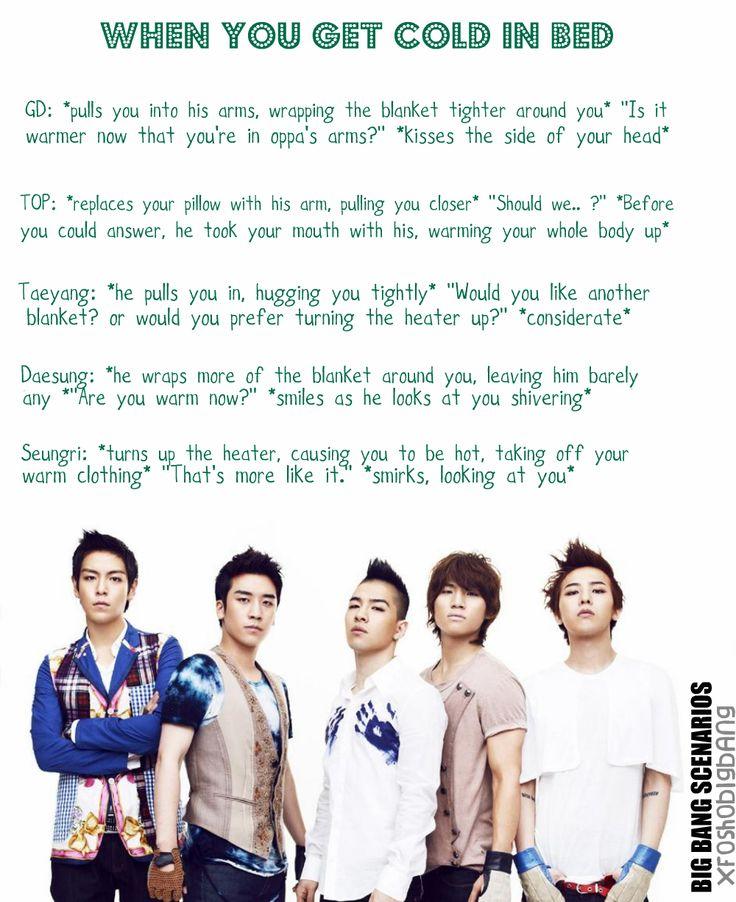 kpop scenarios | Big Bang ~ When you get cold in bed