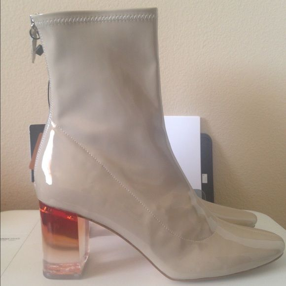 ZARA PATENT LEATHER CLEAR HEEL BOOTS DIOR DUPES! NWT Zara boots they look like the ones Kylie Jenner wore by Dior. They are a euro size 41 they fit like a 9 to me :) cheaper on eBay and (m)ercari of course! Zara Shoes