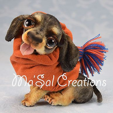 Ma'Sal original /DollyDoggy Smooth haired Miniature Dachshund direct from Artist #AllOccasion