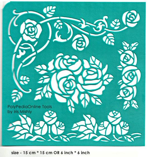 "Stencil Stencils Pattern Template ""Rose Branch"" 6 inch/15 cm, reusable, adhesive, flexible, for polymer clay, fabric, wood, glass, cards"