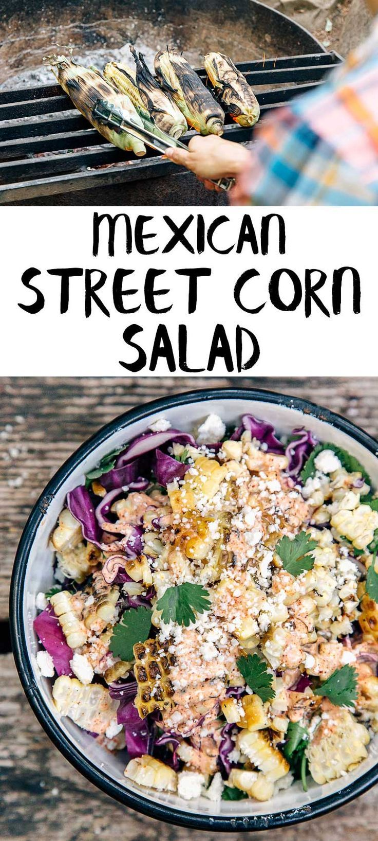 A fun take on Mexican street corn, this grilled esquites recipe (Mexican coleslaw) is a great side to serve with dinner while camping! Grill a few ears of corn, chop some cabbage, and whip up a quick dressing! Camping food   Campfire cooking