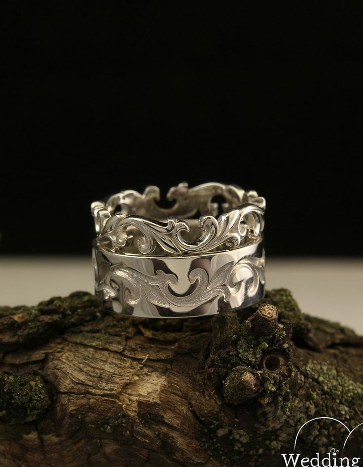 Vine wedding bands set in vintage style, Unique silver wedding rings set, Matching bands, Unusual wedding band set, Sterling silver bands