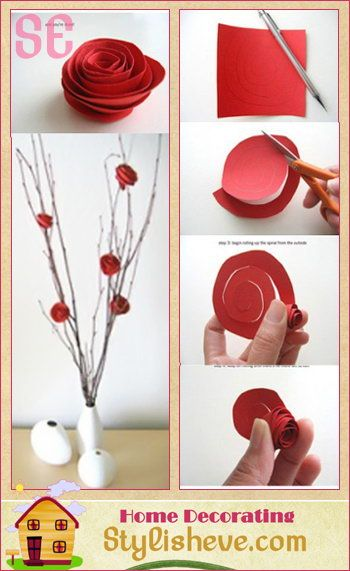 Paper Roses from Circles of paper