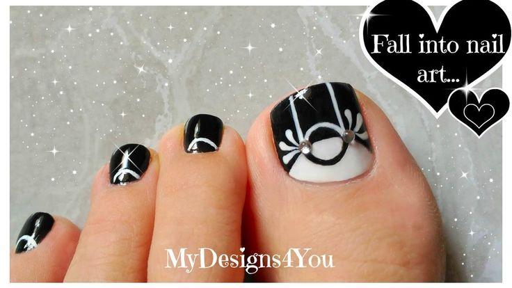 Black & White Toenail Art Design ♥ Monochrome Pedicure
