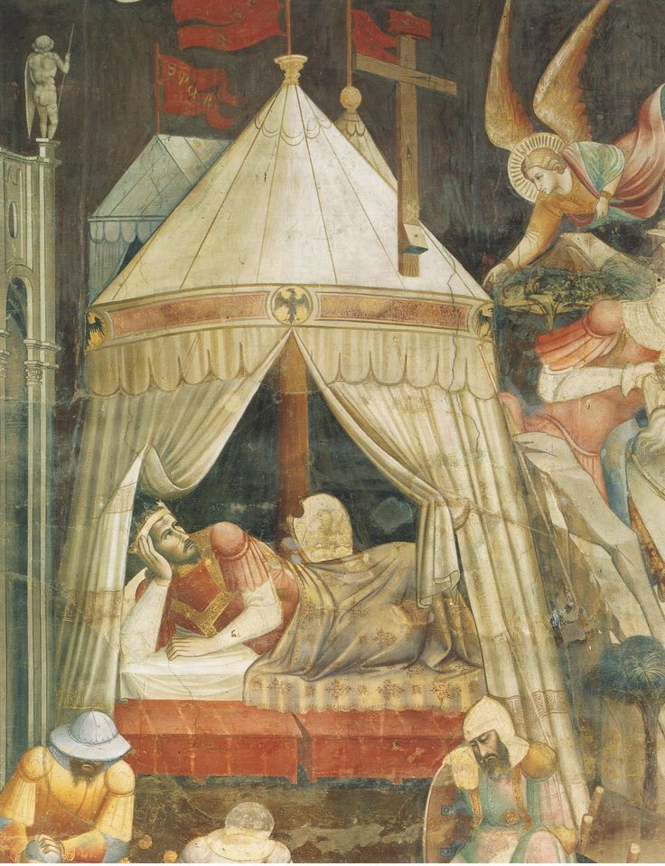 Agnolo Gaddi: The Dream of Emperor Heraclius ca. 1385-87. A rectangular tent with a vertical end wall is visible behind the emperor's pavilion.