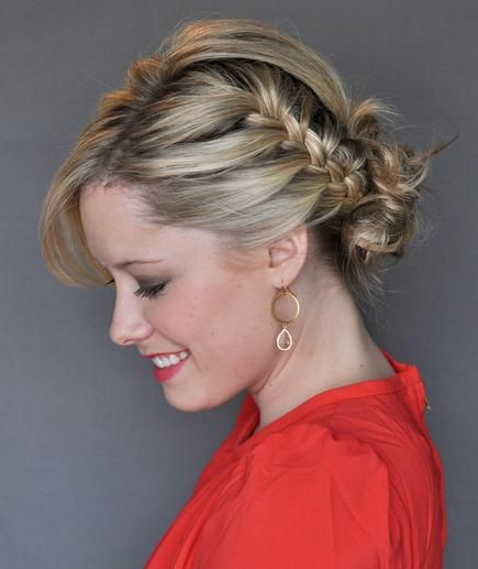 How to do the side french-braid updo.