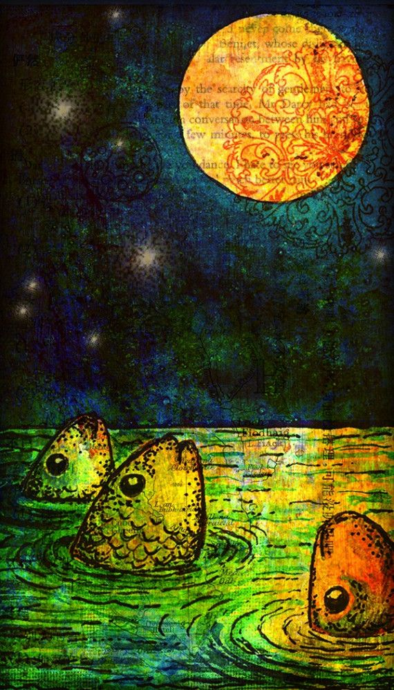 Moonbathing by Francesca Burras - print of watercolor painting