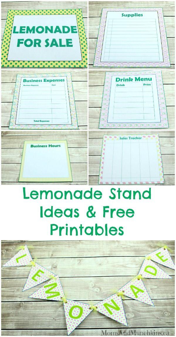 Lemonade Stand Free Printables #LemonadeStand #BubblesMyWay