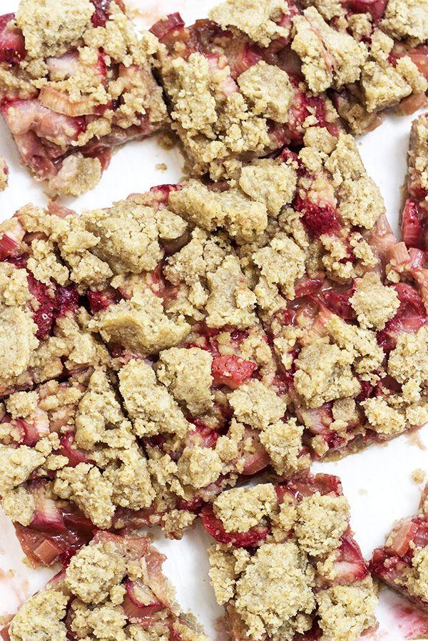 Vegan Strawberry Rhubarb Rose Bars Recipe - refined sugar-free!