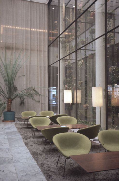 "design-is-fine: "" Arne Jacobsen, interior design of the SAS Royal Hotel Copenhagen, 1958-60. Unknown photographer. Via kunstbib.dk """