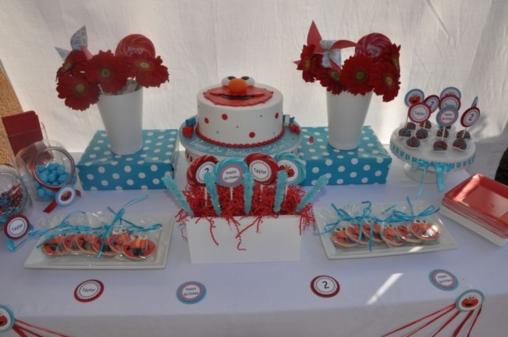 decoracion fiesta cumpleano pastel elmo tema animacion