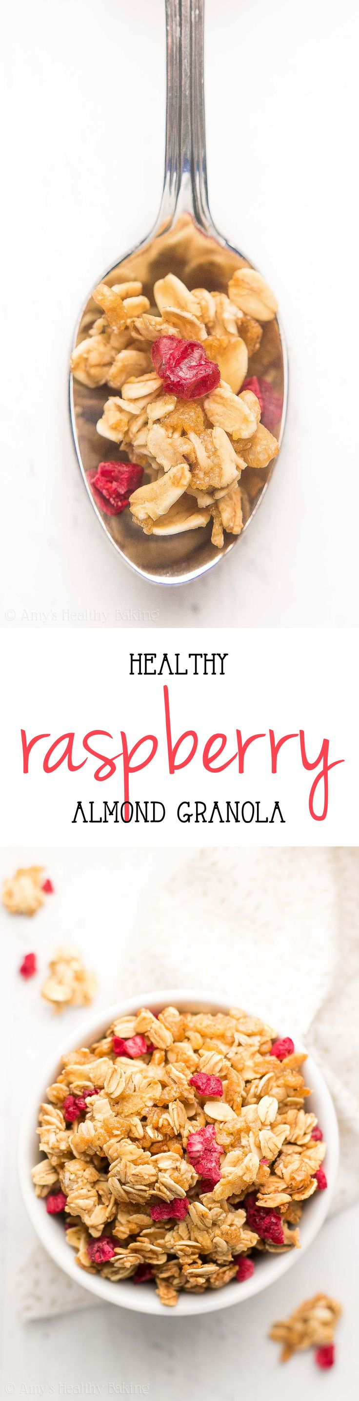 Easy & Healthy Raspberry Almond Granola -- only 6 ingredients! Plus a SECRET TRICK to making extra big & crunchy clusters!