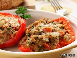 Baked Stuffed Peppers - If you've never tried a stuffed pepper recipe, now's your chance! It cooks up in under 30 minutes, so it's ready in no time.