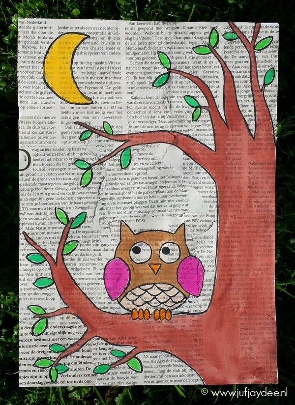 Juf Jaydee: Een tekening/ schilderij met achtergrond van kranten