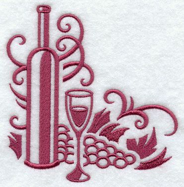 Wine Bottle Machine Embroidery Designs